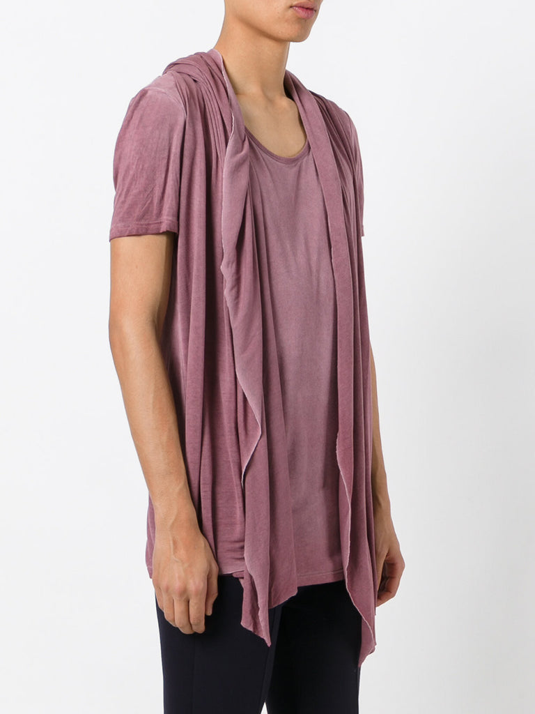 UNCONDITIONAL Old Rose rayon hooded, drape waistcoat T-shirt