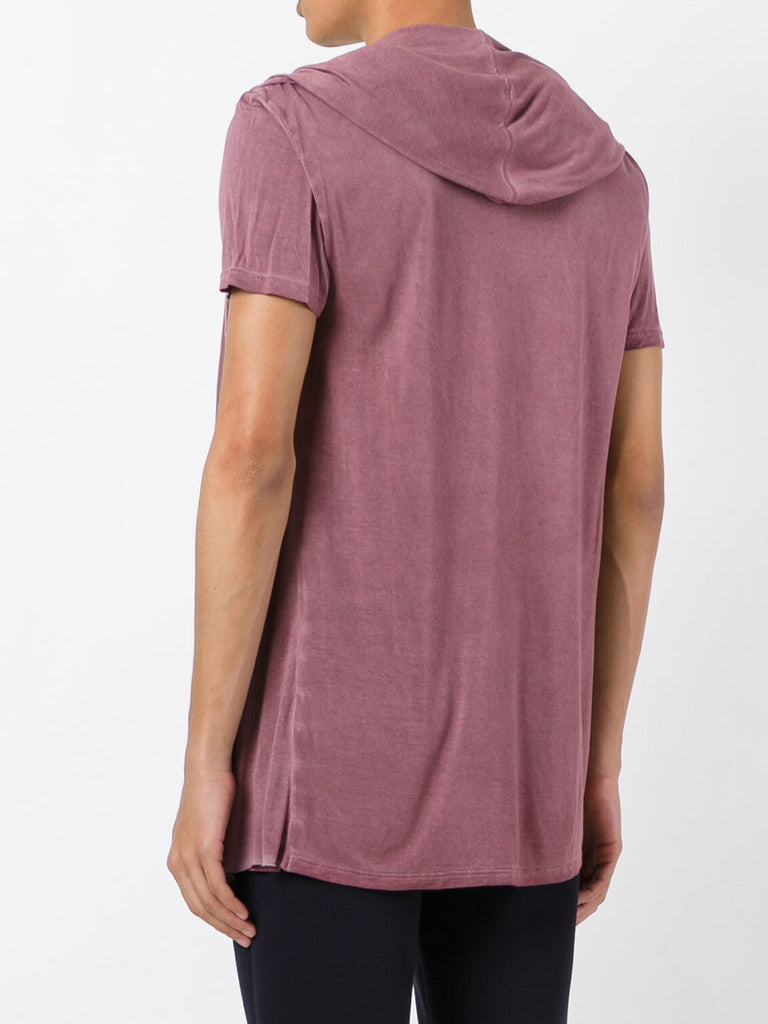 UNCONDITIONAL Old Rose rayon hooded, cape , drape waistcoat T-shirt.