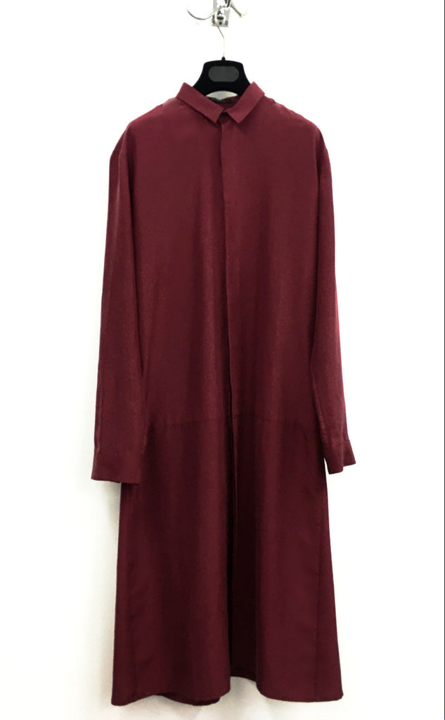 UNCONDITIONAL dark red long cotton and silk shirt