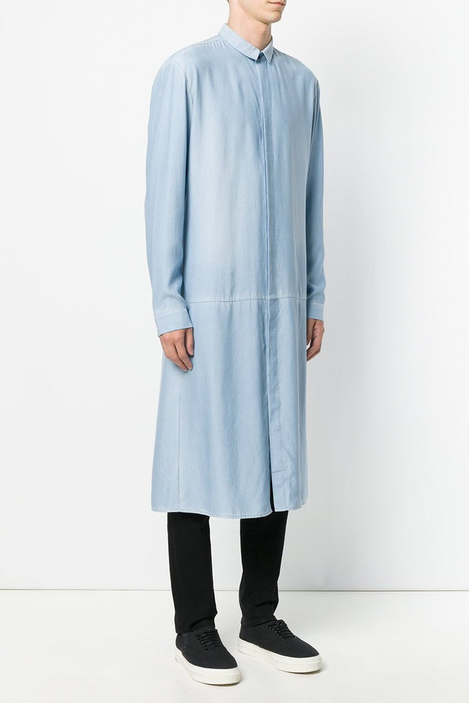 UNCONDITIONAL SS19 Long split tail shirt in washed blue tencel denim