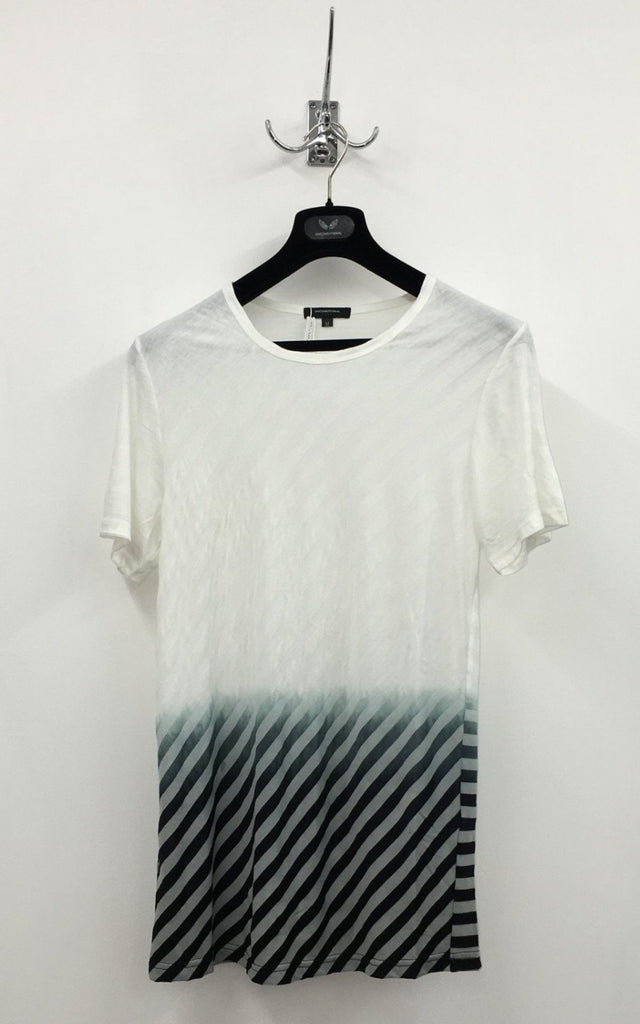 UNCONDITIONAL white and off white stripe T-Shirt  with bottom black dipdye