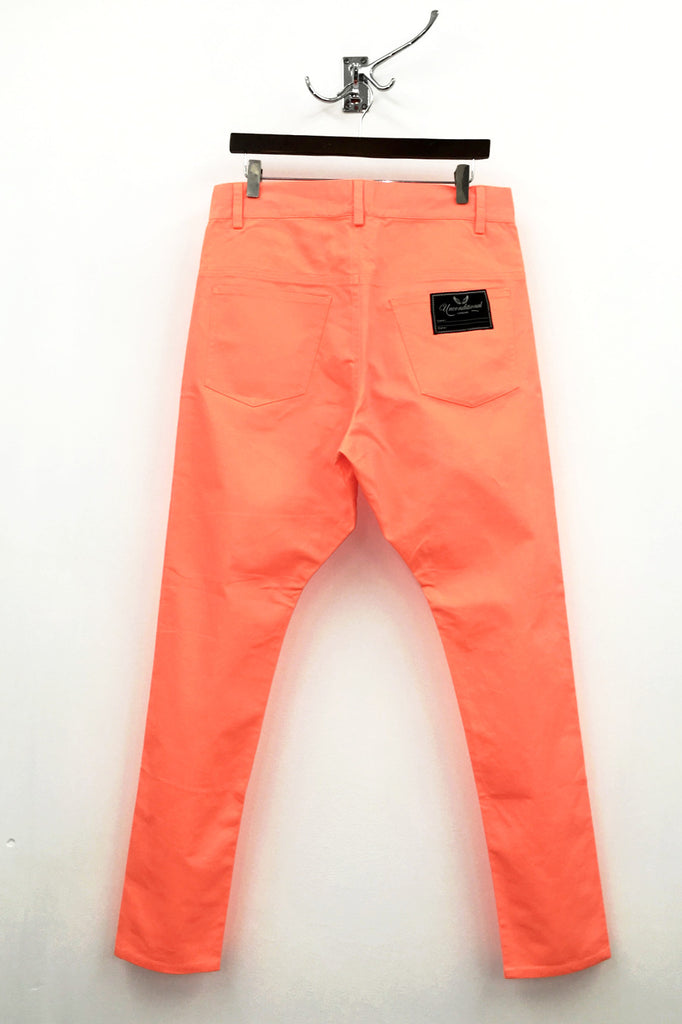 UNCONDITIONAL Neon orange light denim jeans drop crotch jeans