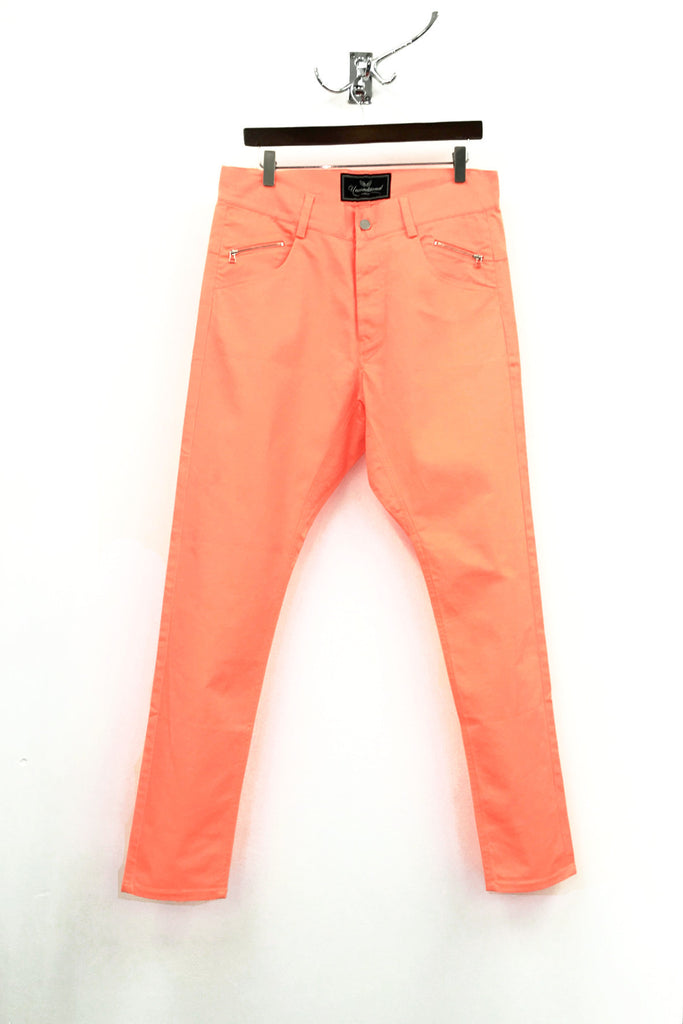 UNCONDITIONAL neon orange drop crotch jeans