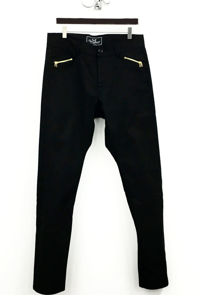 UNCONDITIONAL Jet black light denim with gold back and small pocket zips