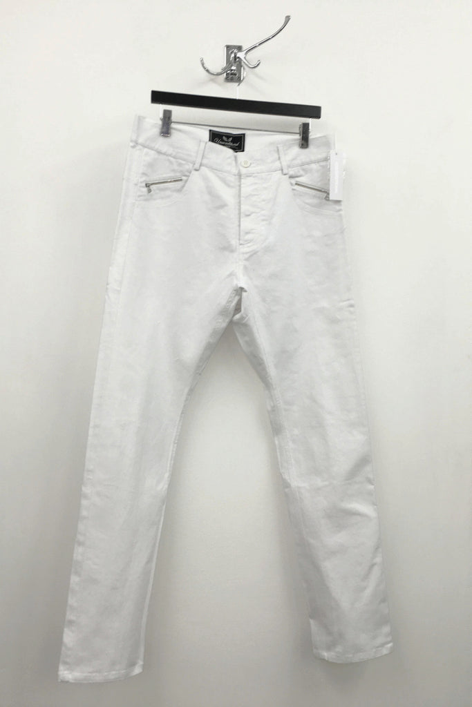 UNCONDITIONAL White lightweight stretch denim jeans with black taped back zips