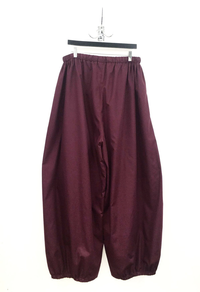 UNCONDITIONAL Burgundy double layer cotton voile cocoon trousers