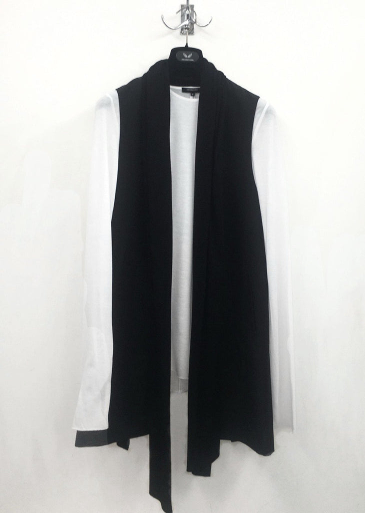 UNCONDITIONAL SS18 LONG BLACK SCARF COLLAR WAIST COAT