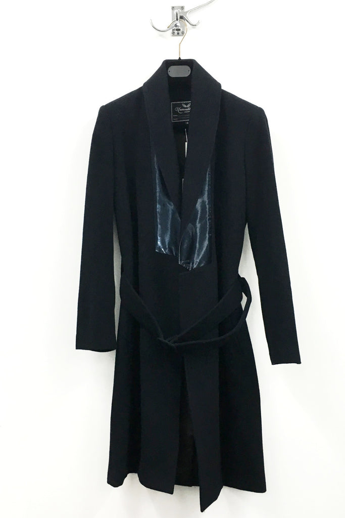 UNCONDITIONAL Midnight belted wool wrap coat with futuristic silk plastic contrast collar