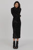 UNCONDITIONAL Signature Black knit sequin dress with leather collar and cuffs