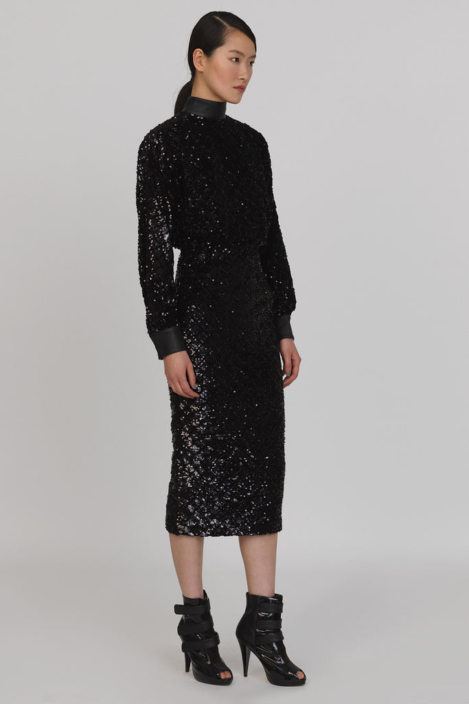 UNCONDITIONAL Black knit sequin dress with leather collar and cuffs