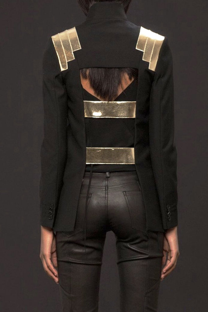 UNCONDITIONAL AW19 Black | Gold mirrored leather cage back jacket.
