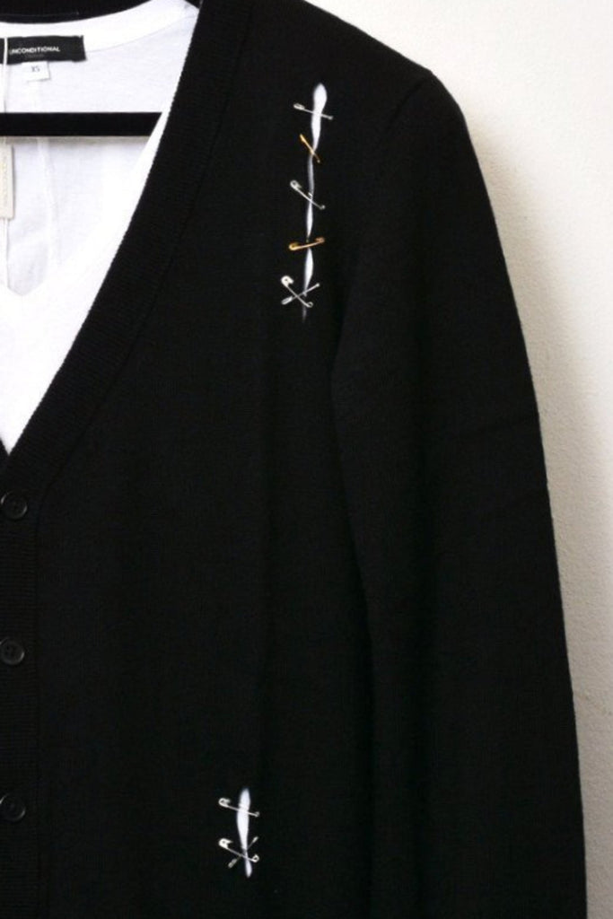 UNCONDITIONAL AW18 BLACK MERINO V NECK CARDIGAN WITH SLASHES AND PINS