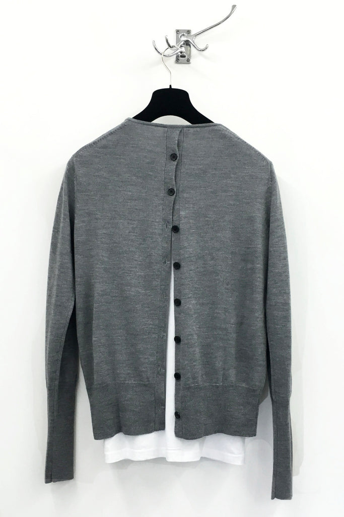 UNCONDITIONAL Flannel Grey V-neck jumper with back buttons.