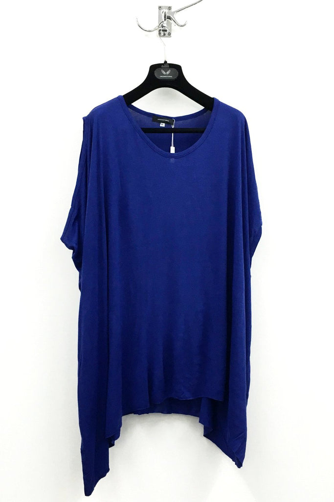 UNCONDITIONAL azure asymmetric shoulder double dip tee.
