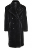 UNCONDITIONAL Black Faux Rex Rabbit Double Breasted Hollywood Coat