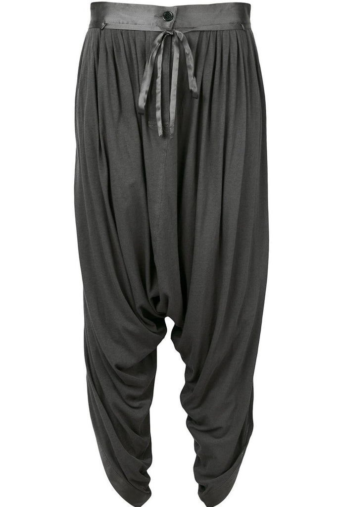 UNCONDITIONAL Dark Grey jersey harem petal pants with silk trims