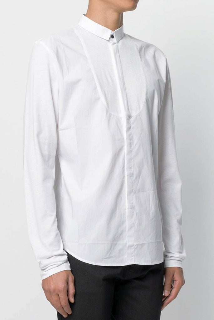 UNCONDITIONAL SS18 white long sleeved shirt with inserted jersey bib and jersey sleeves.