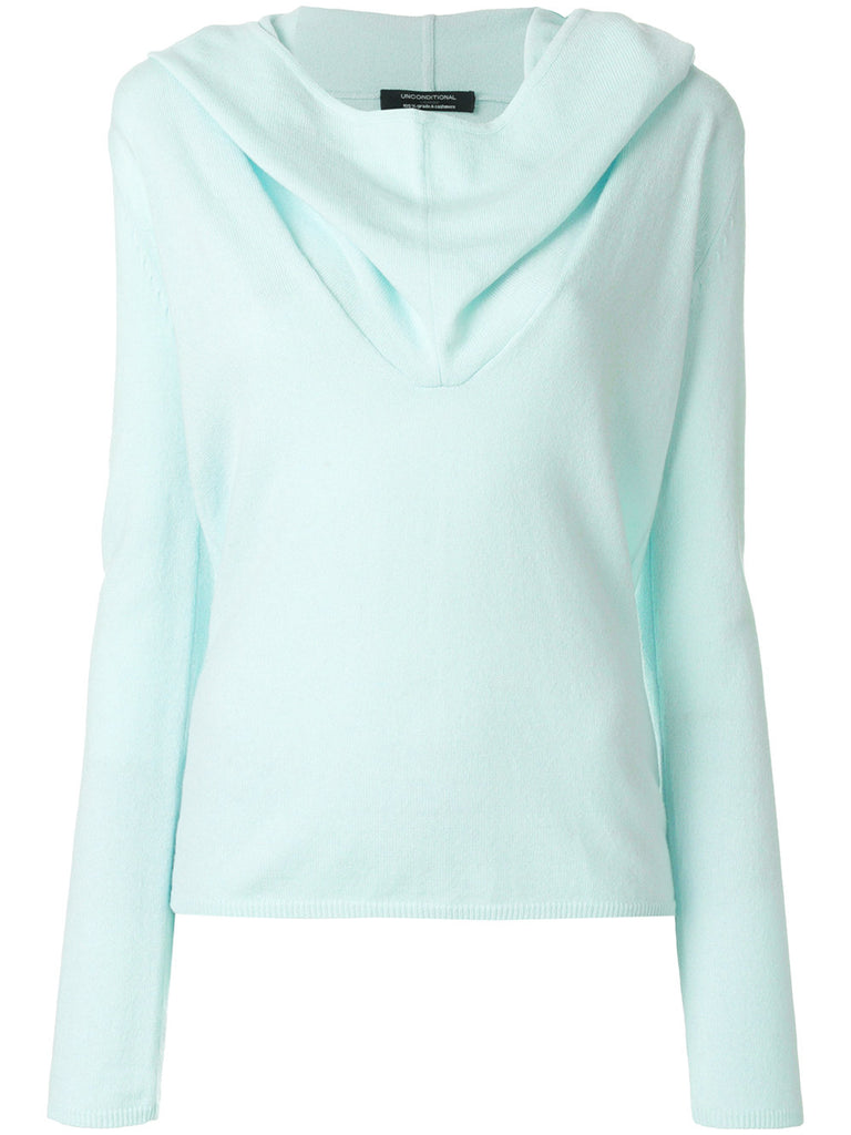 UNCONDITIONAL SS18 Womens Aqua cashmere Ghost Hoodie sweater