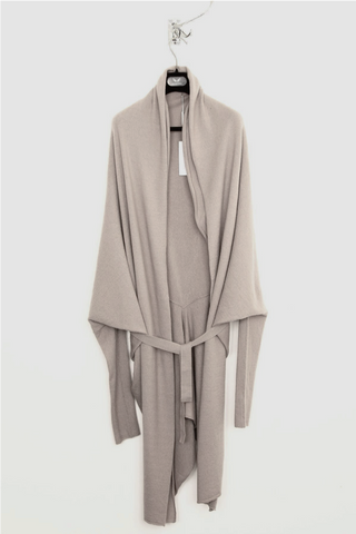 UNCONDITIONAL Signature Silver boiled merino wool long belted coat cardigan.