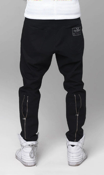 UNCONDITIONAL midnight blue stretch drill  back zip drop crotch jeans.