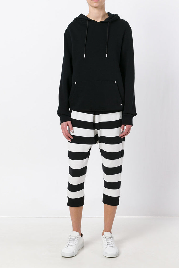 UNCONDITIONA Black | Off White horizontal striped drop crotch shorts