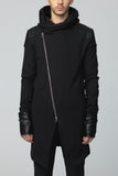 UNCONDITIONAL's Long Biker hoodie-coat with signature faux leather contrasts