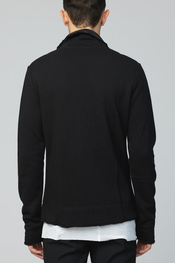 UNCONDITIONAL SS18 Black sweat shirting 2 button jacket with contrast detailing