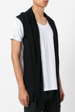 UNCONDITIONAL SS19 white with black contrast hooded cape waistcoat t-shirt.
