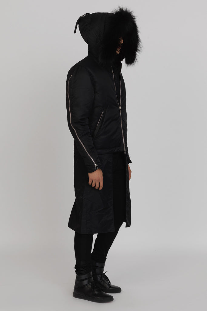UNCONDITIONAL AW17 Black goose down Fox trimmed parka with zip off tailcoat-skirt