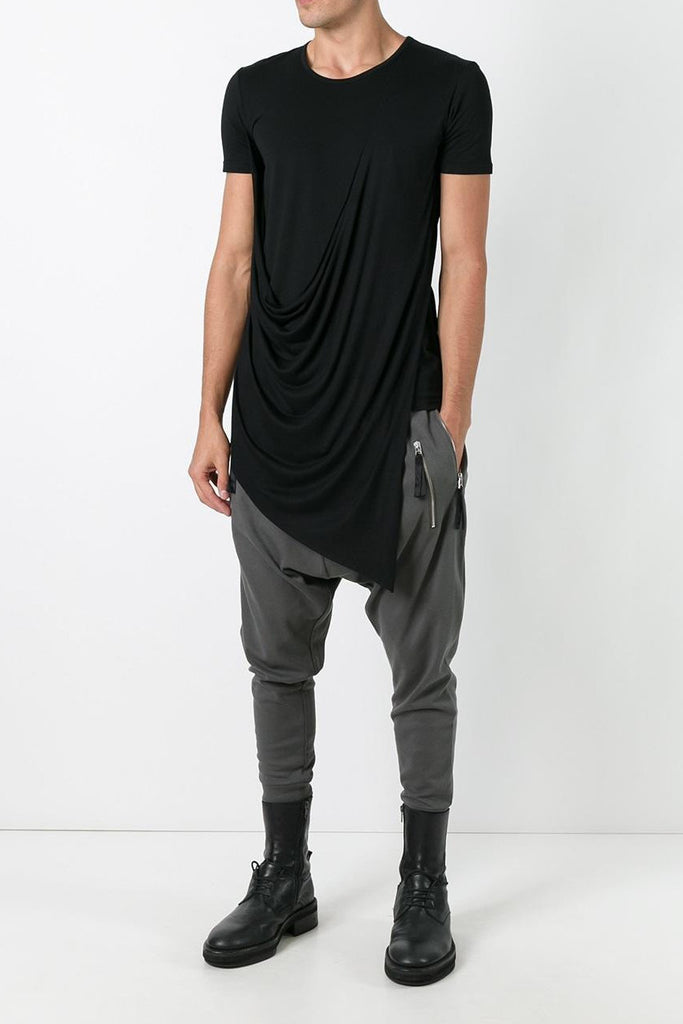 UNCONDITIONAL Black short sleeved asymmetric drape front T-shirt UNCONDITIONAL SS18 Black short sleeved asymmetric drape front T46