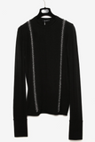 UNCONDITIONAL Black merino crew neck jumper with silver chain faux braces