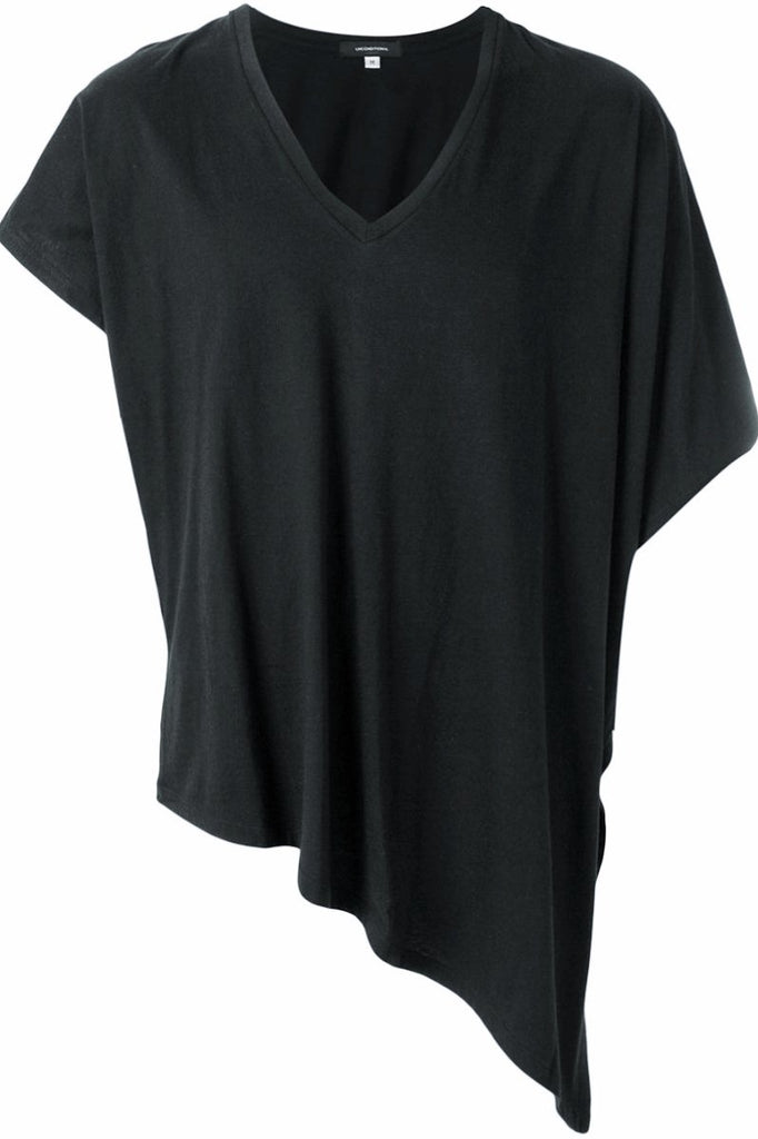 UNCONDITIONAL SS19 Black V-neck cotton jersey fin T-shirt