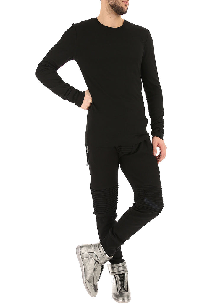 UNCONDITIONAL Black rayon | cashmere | silk long sleeved jersey T-shirt