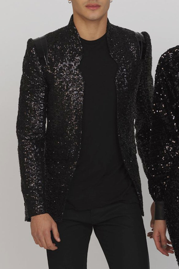 UNCONDITIONAL AW19 PRE Black sequin cageback jacket with patent leather detailing