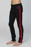 UNCONDITIONAL Black stretch denim skinny jeans with red silk tuxedo stripe.
