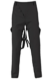 UNCONDITIONAL Signature Black slim fit trousers with back D-Ring bondage straps.