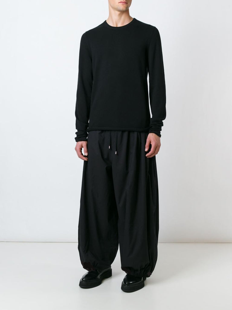 UNCONDITIONAL SS17 Black double layer cotton voile cocoon trousers
