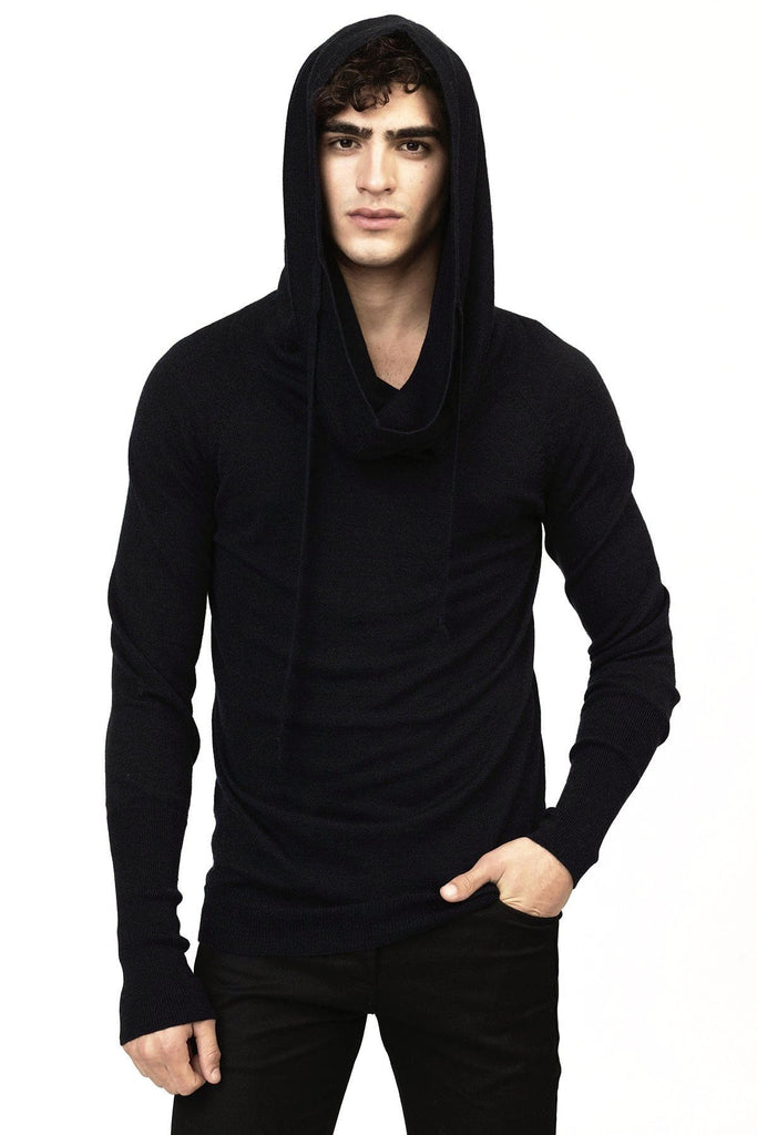 UNCONDITIONAL AW17 Black Merino wool signature drape funnel hoodie jumper