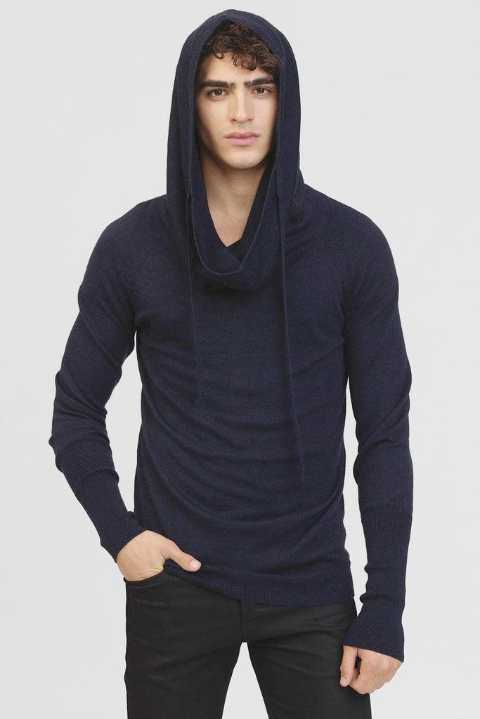 UNCONDITIONAL Soil Grey Merino knit drape funnel hoodie