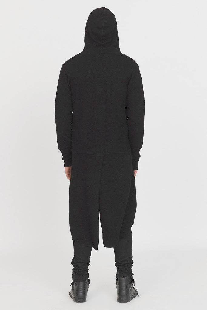 UNCONDITIONAL Black Boiled Merino wool tailcoat hoodie.