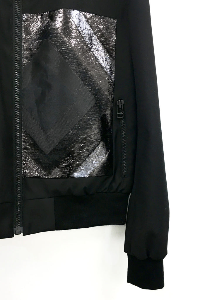 UNCONDITIONAL black with black square applique bomber jacket.