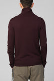 UNCONDITIONAL Burgundy 6 ply merino wool cardigan with gathered collar.
