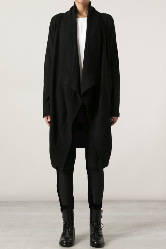 UNCONDITIONAL AW18 Unisex Black boiled wool drape front cardigan.