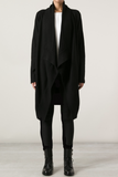 UNCONDITIONAL AW19 Unisex Black boiled wool drape front cardigan.