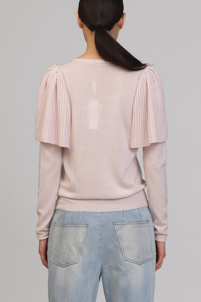 UNCONDITIONAL SS18 CAMELIA PINK ANGEL SLEEVED MERINO JUMPER.