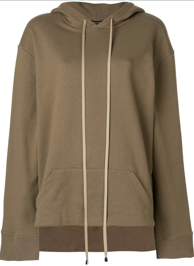 UNCONDITIONAL AW18 Caramel drawstring hoodie with stepped back tail.