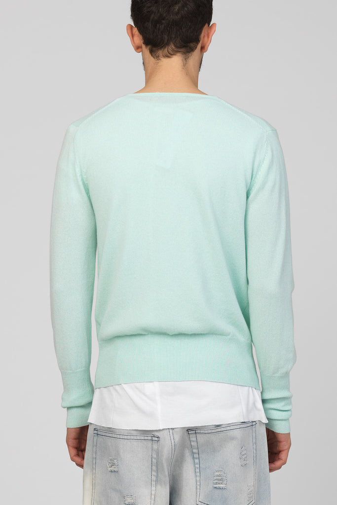 UNCONDITIONAL's SS17 pure cashmere signature 'minimal V-neck' jumper in Mint Green.