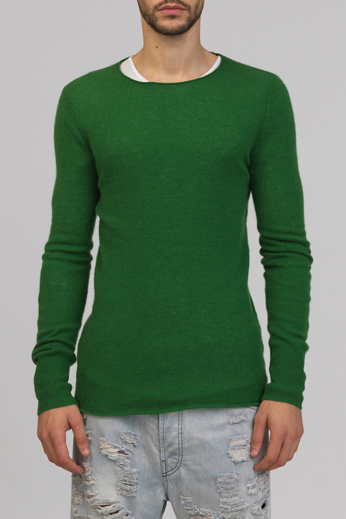 UNCONDITIONAL SS18 Chlorophyl loose knit cashmere crew neck jumper with back hem rib.