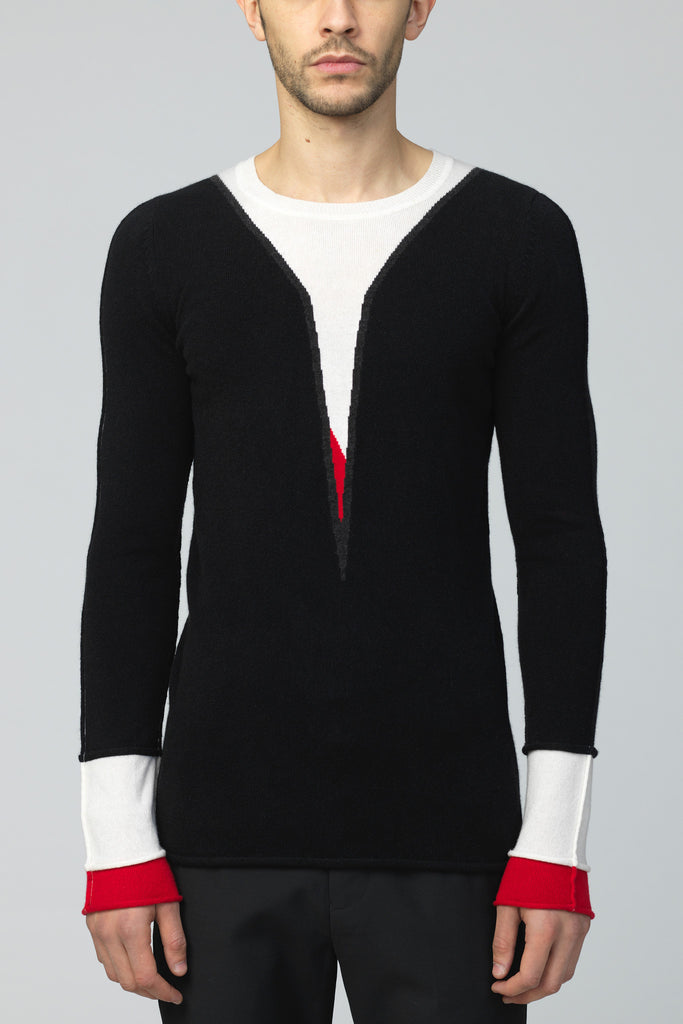 UNCONDITIONAL Black , red and white pure cashmere swan jumper.