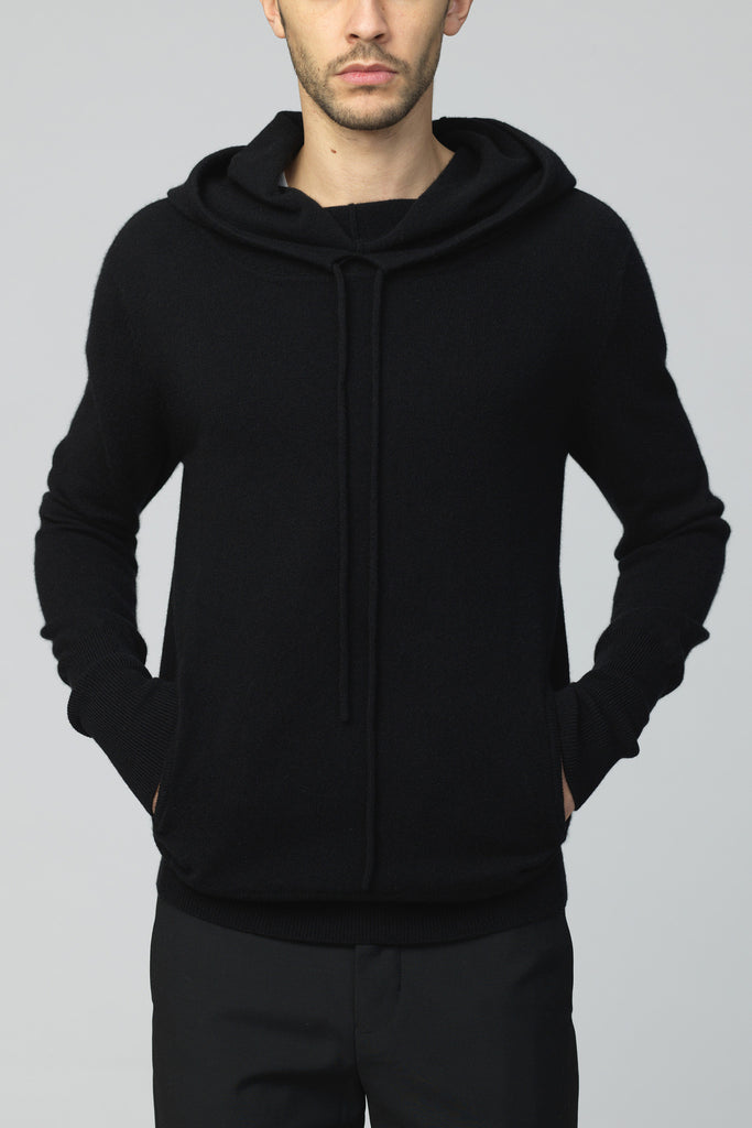 UNCONDITIONAL ALL BLACK NEW SLOUCHY POCKET HOODIE IN ITALIAN PRODUCED MERINO